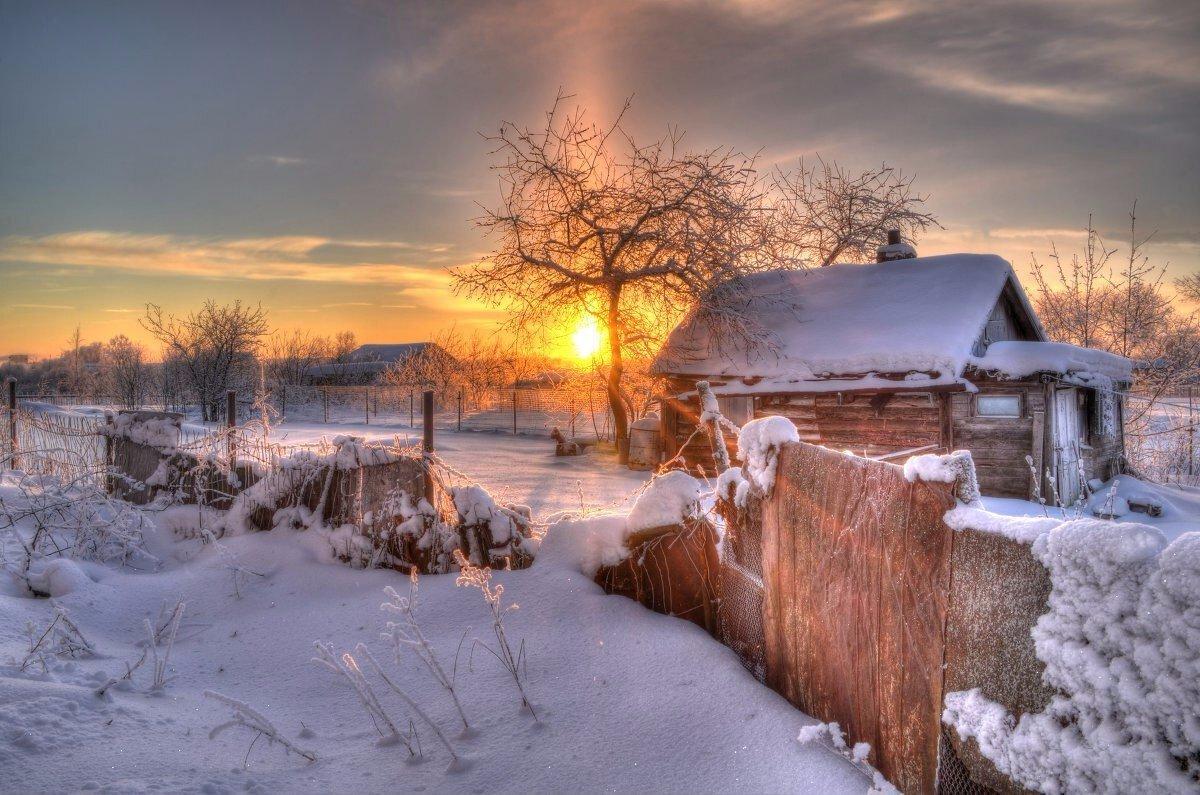 Картинки зима в деревне красивые пейзажи, обои
