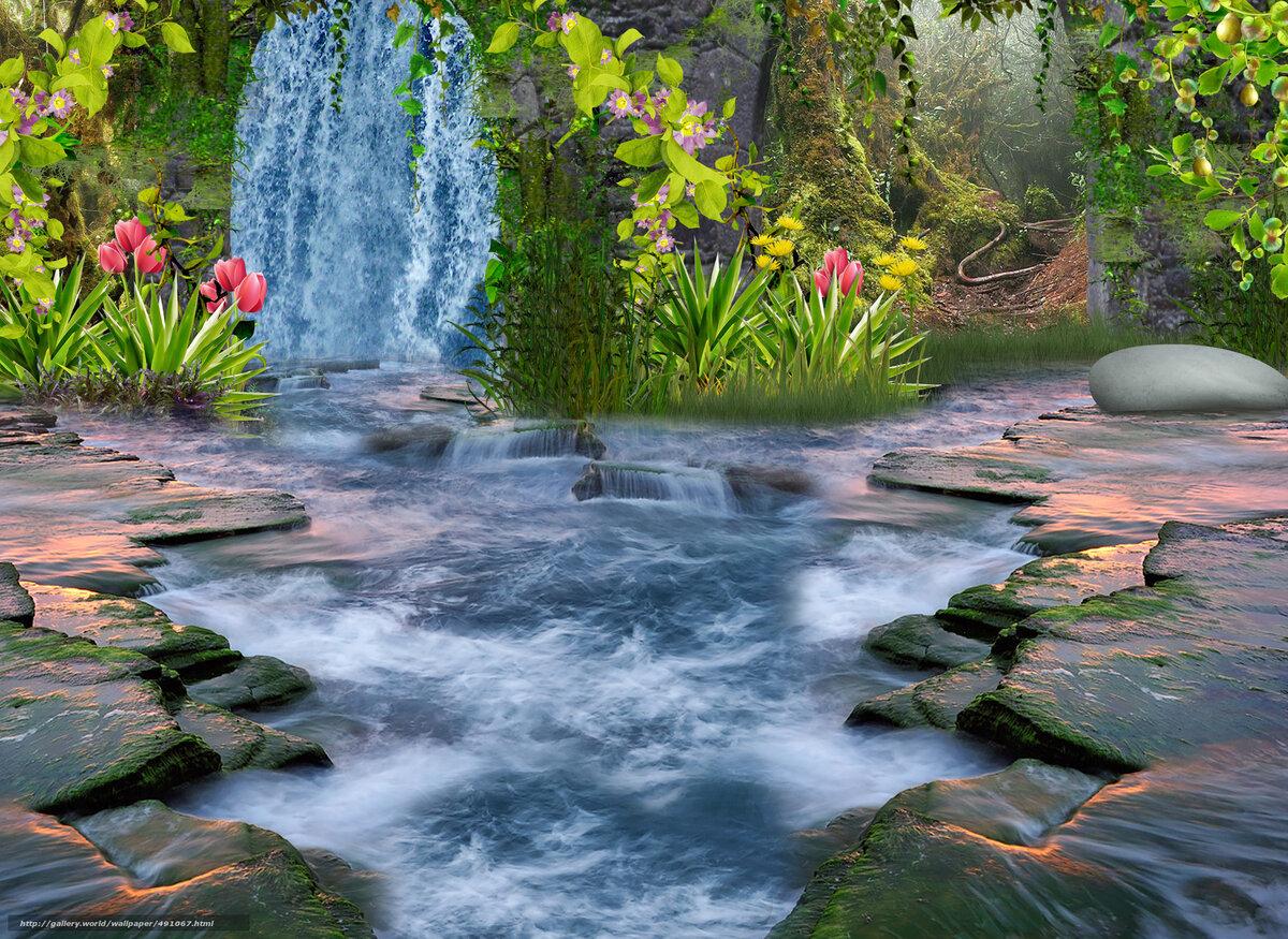 этом картинка с водопадами и лотосом декинг паркет