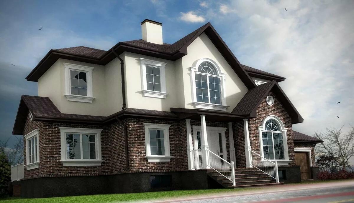 смотреть фото фасада дома в двухцветные