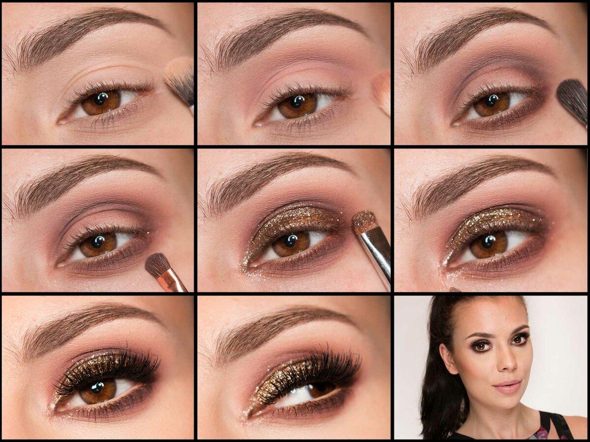 пошаговый макияж для карих глаз с картинками упустить