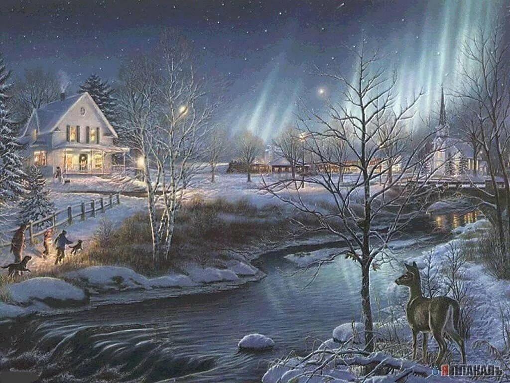 Анимационные картинки зима в деревне