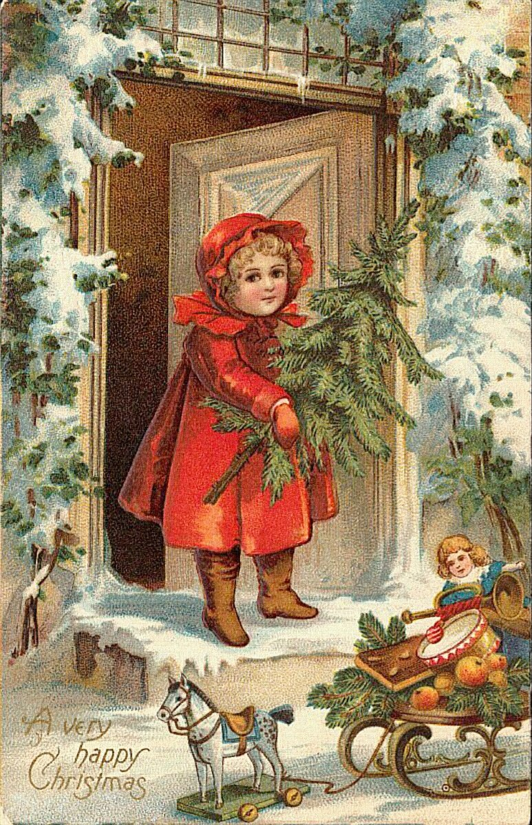 Открытки, дети в новогодних открытках