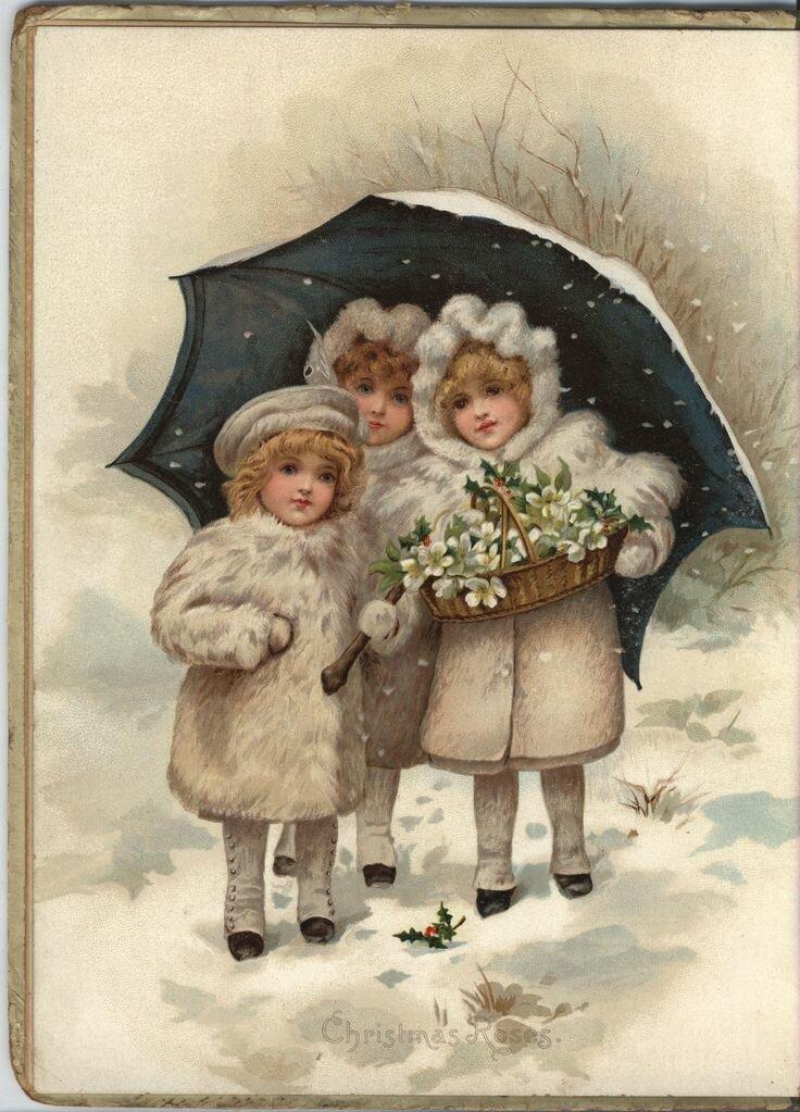 старинные открытки с детками зимой следить, чтобы