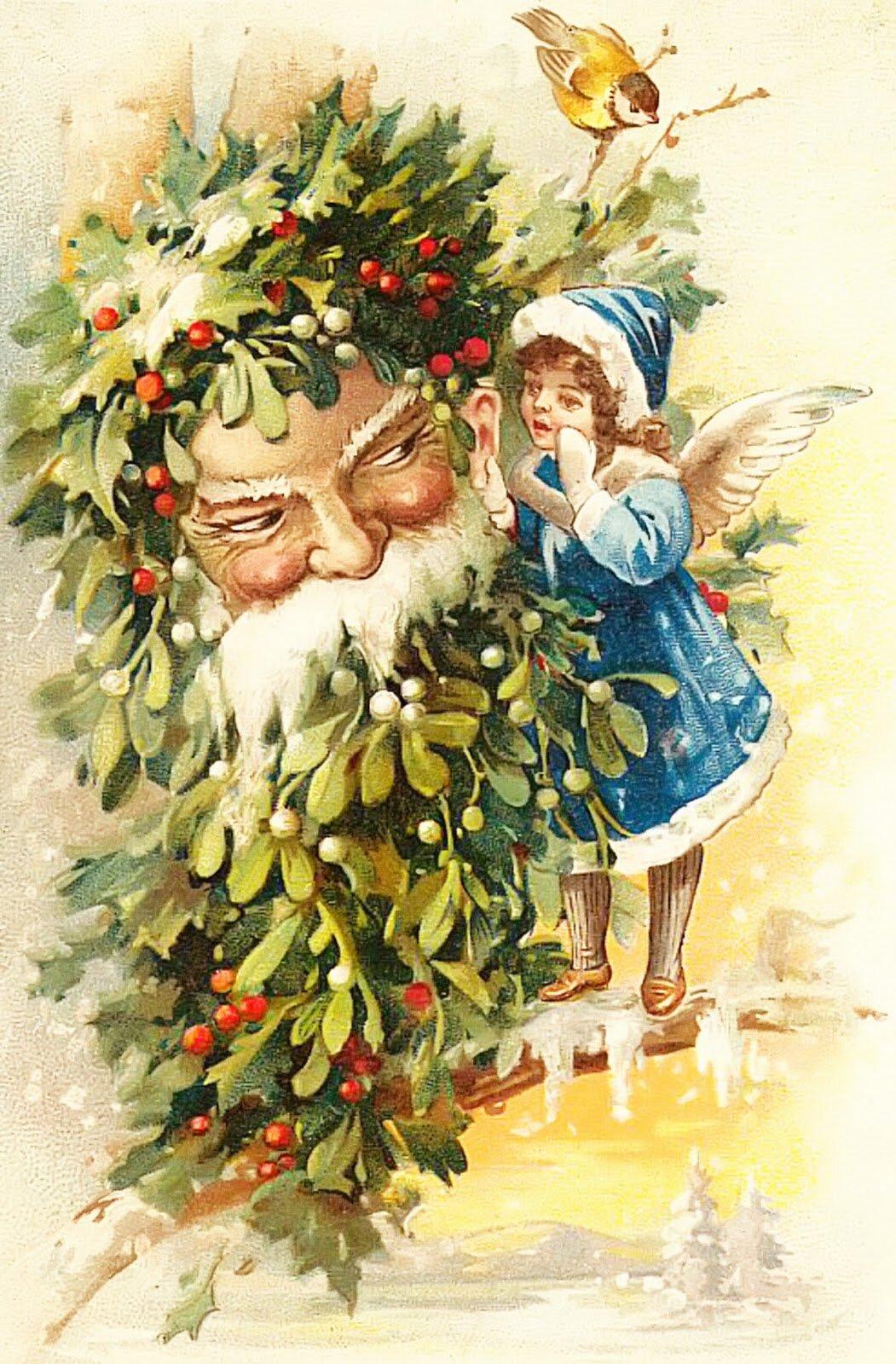 Красивые, картинки старых рождественских открыток
