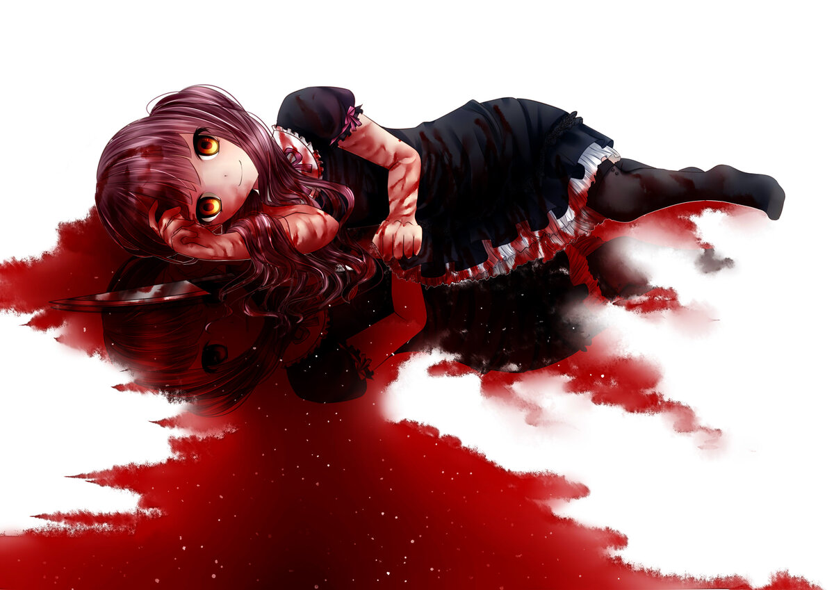 Картинки с девушками аниме в крови