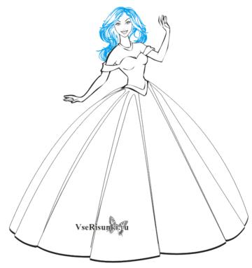 5c1b1fef1b6 Рисунок женщины в платье карандашом. Как нарисовать девушку ...