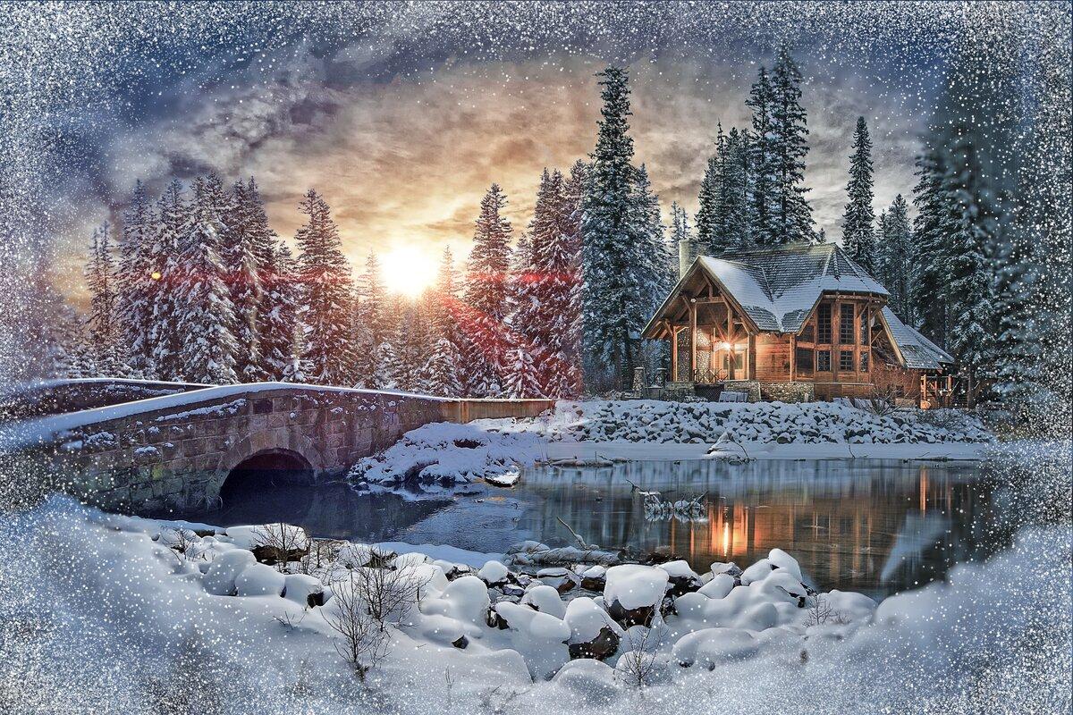 Красивые картинки зима домик в лесу