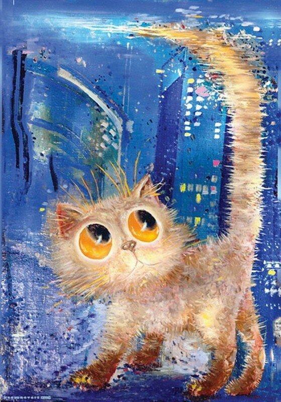 Коты рисунки прикольные красками