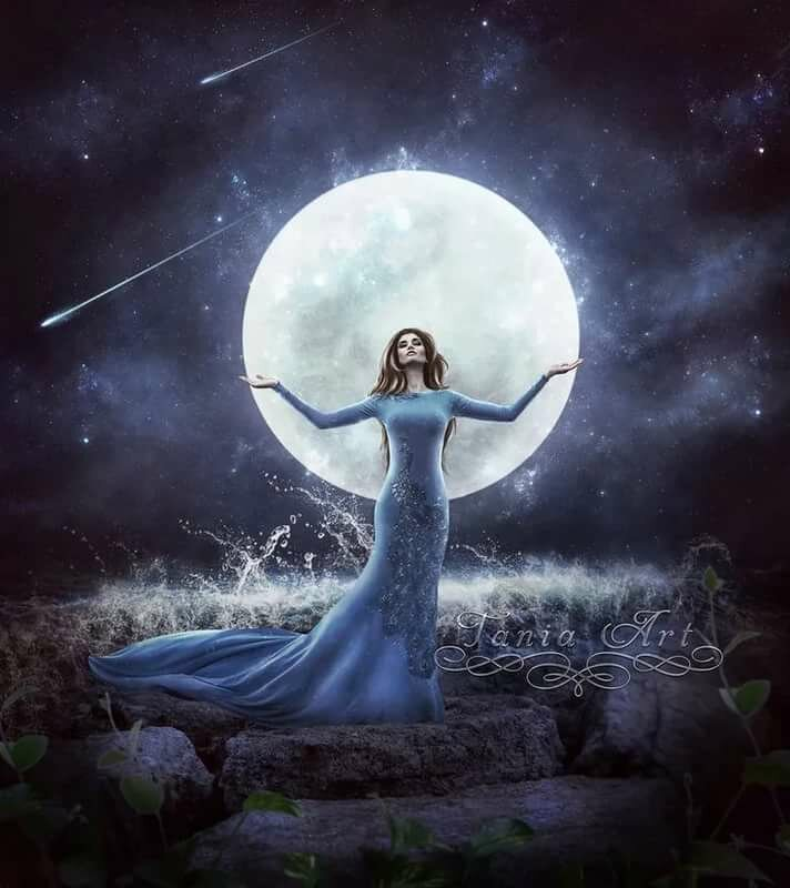 Мубарак, открытки девушка на луне