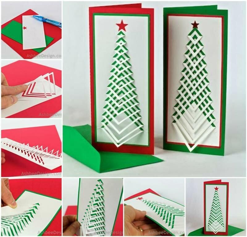 Красивые новогодние открытки своими руками легкие