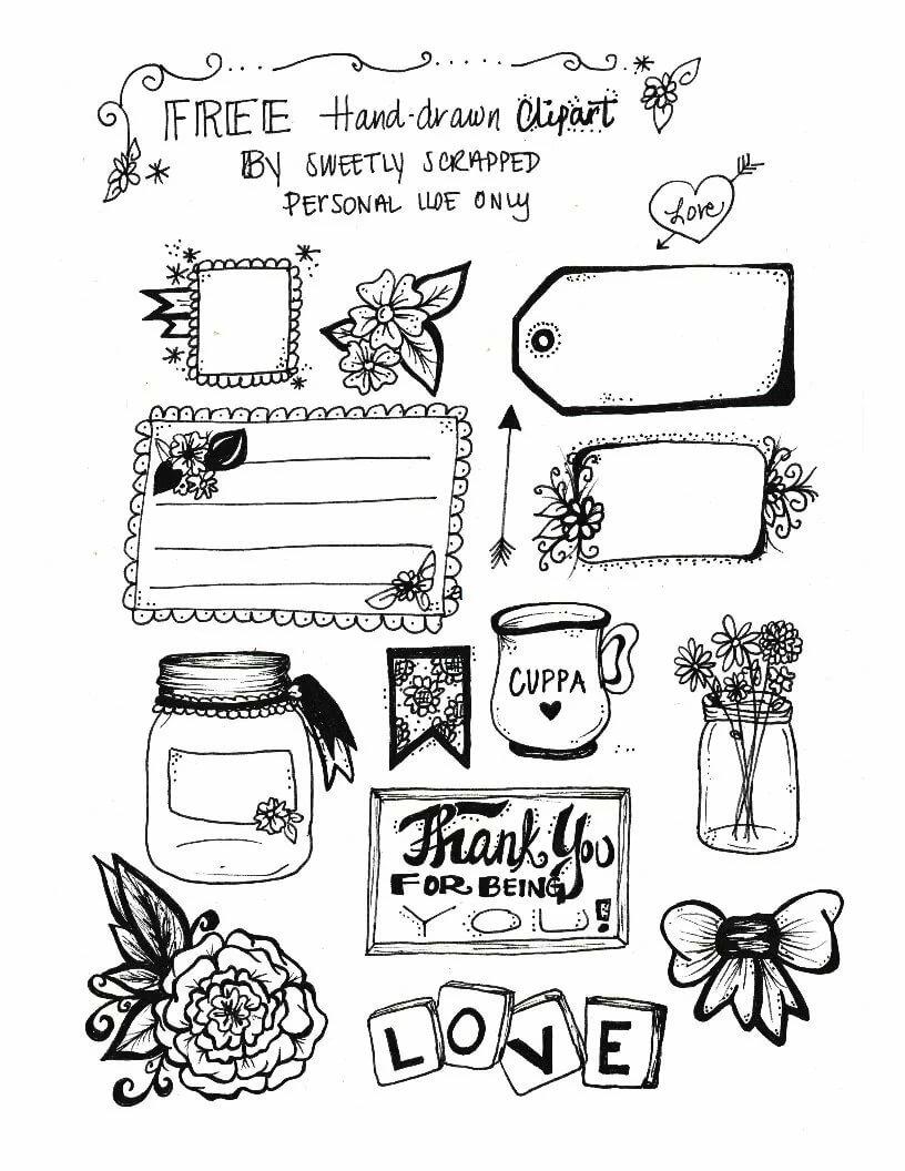 Своими руками, картинки в личный дневник для девочек распечатать в черно белом