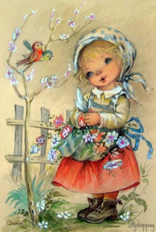 Детские открытки ретро с днем рождения, картинки для рекламы