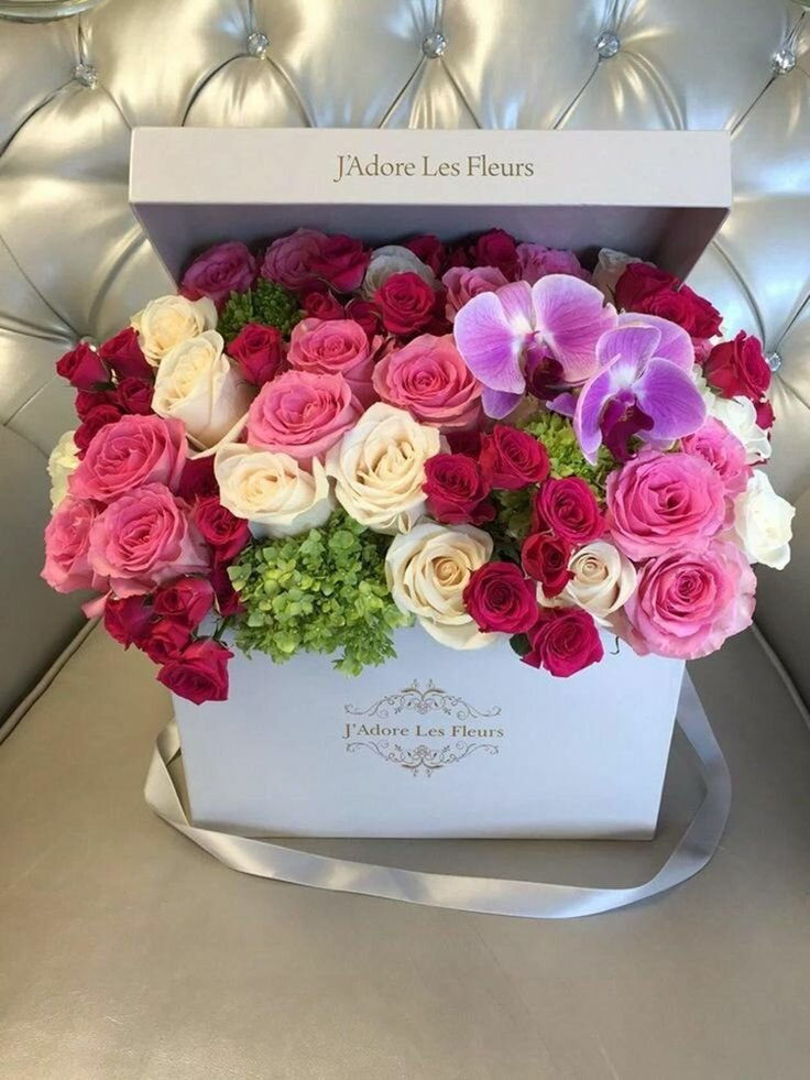 Открытки с цветами в коробке