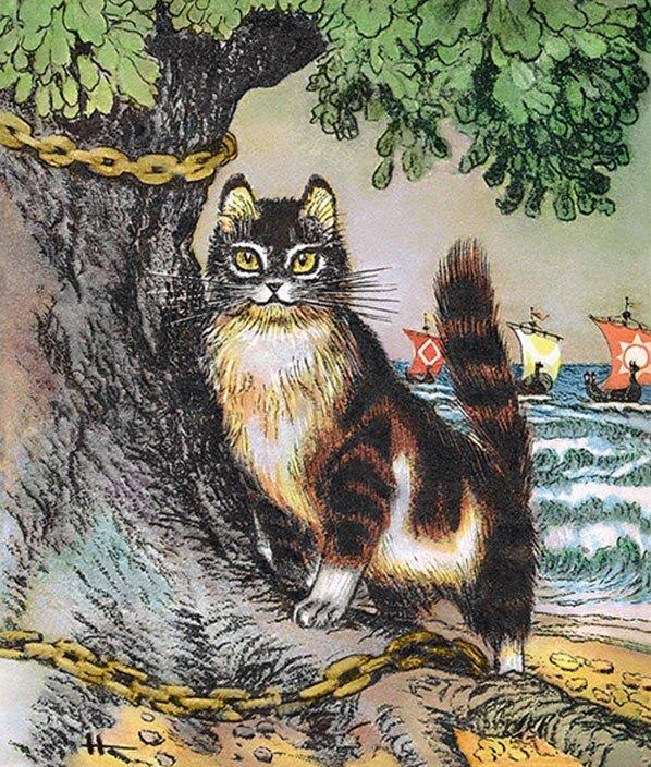 Картинка у лукоморья дуб зеленый с котом