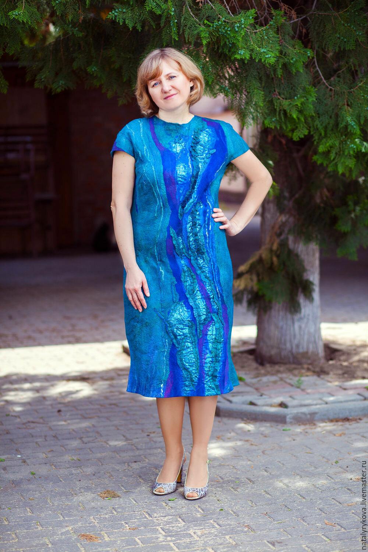 0b780d4ade3 ... Аквамарин платье валяное из шелка и мериносовой шерсти - купить в  интернет-магазине на Ярмарке