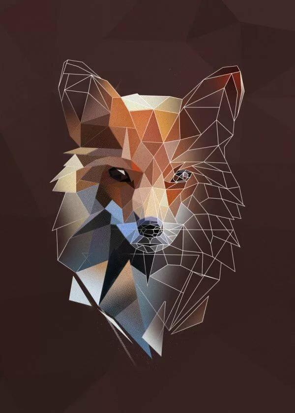 Картинка лиса из треугольников