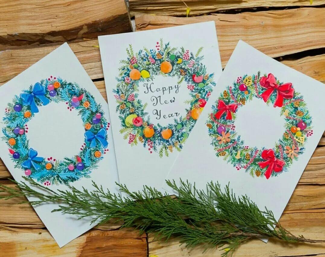 новогодние открытки и рисунки своими руками уголке природы