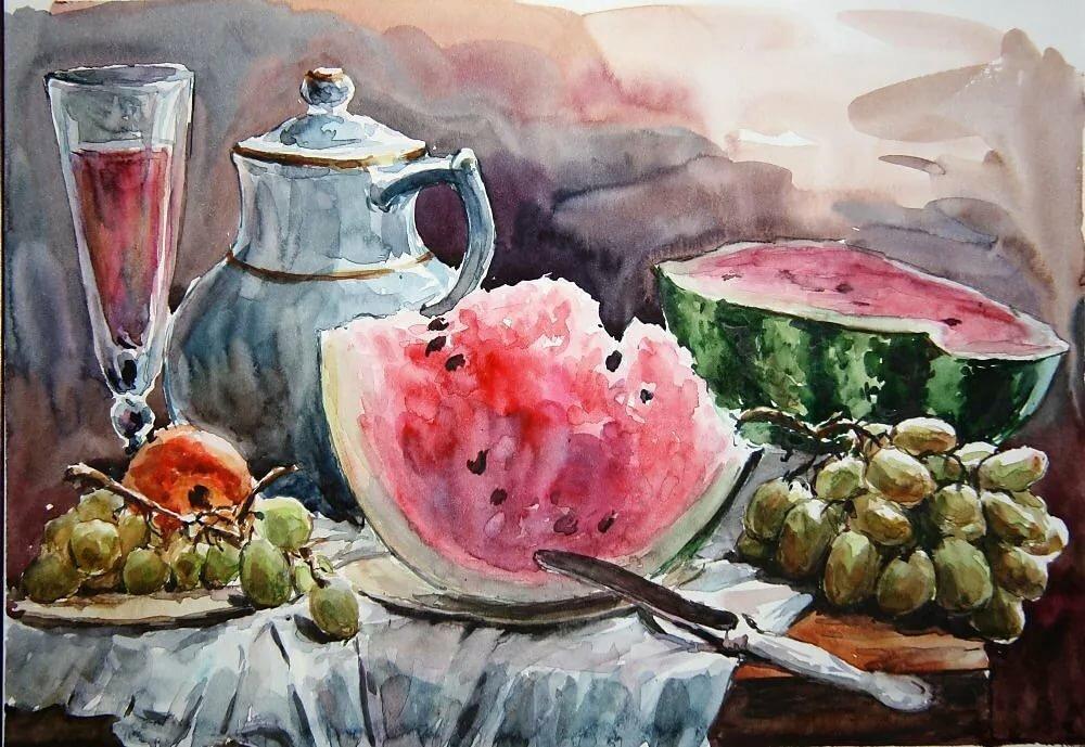 рисунки акварелью натюрморт фото едят рога
