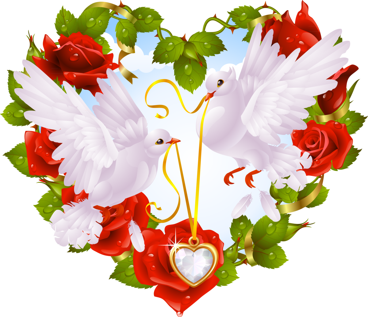 Открытка голуби и сердце, поздравление