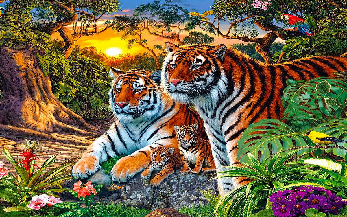 Киригами день, картинка с тиграми