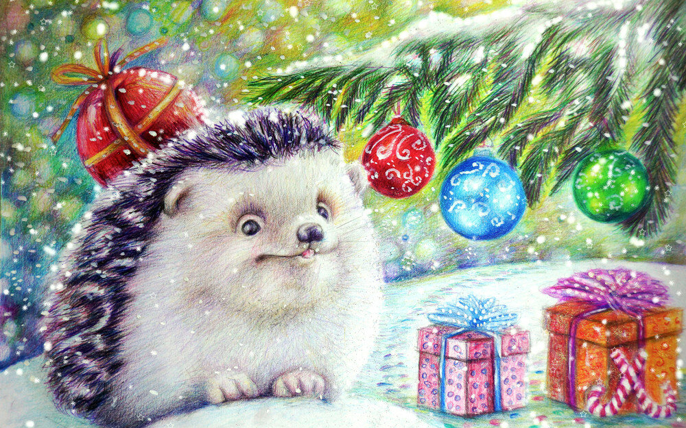 Новогодние открытка нарисовать