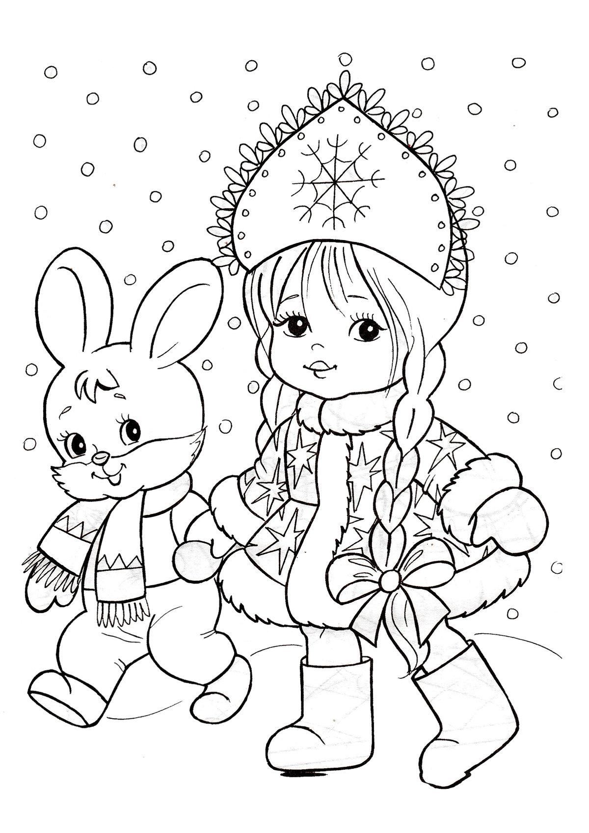 Поздравление, новогодние картинки для девочек для срисовки