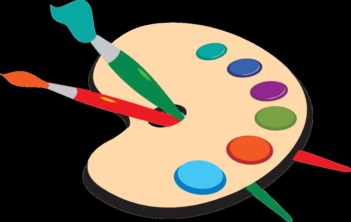 Рисунок палитры с красками и кисточками