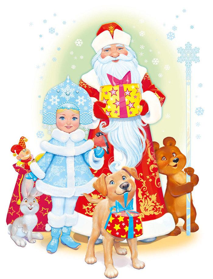Дед мороз и санта клаус картинки для детей нарисованные