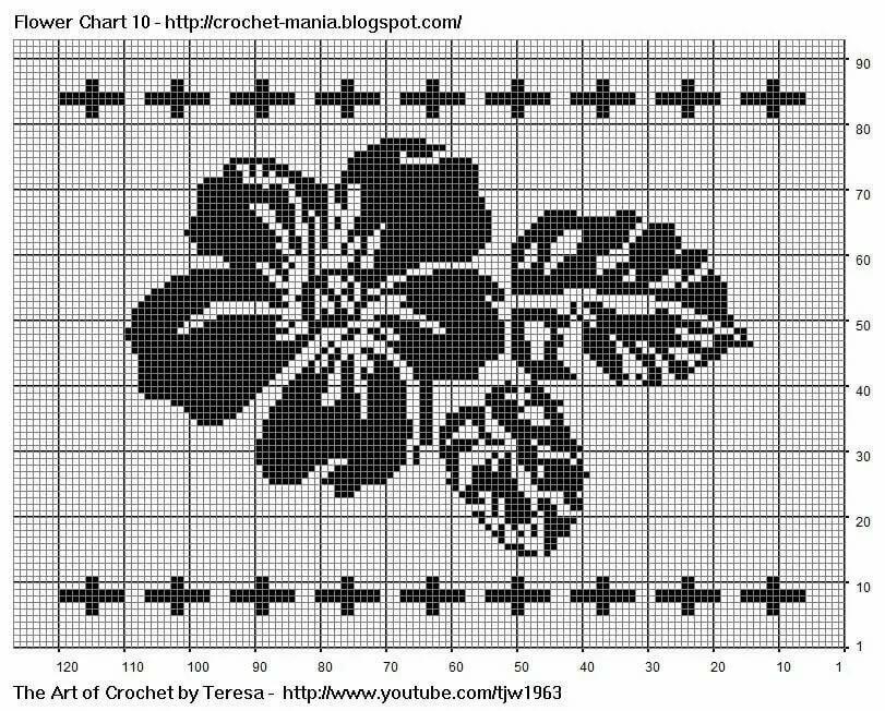 схемы картинок с цветами для вязания спицами