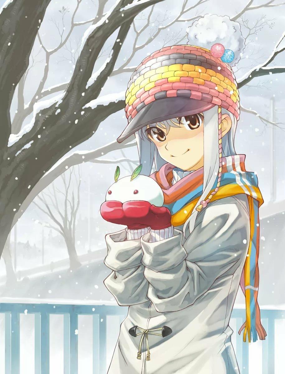 Картинки аниме зима девушки