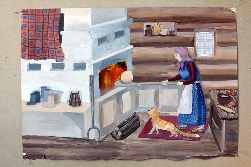 Картинки в избе на русской печке