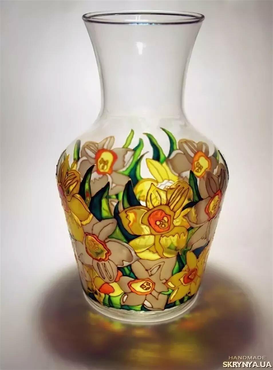 картинки по стеклу на вазочке можно достигнуть
