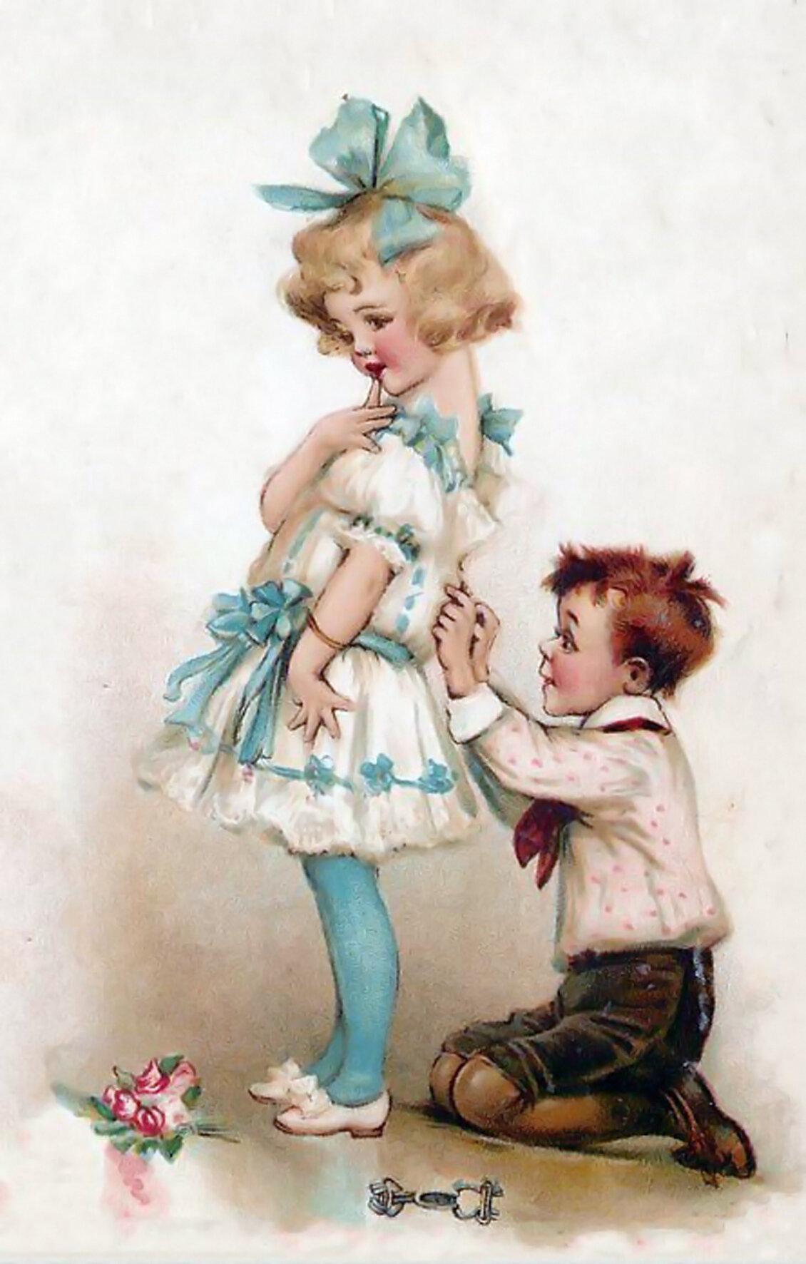 Нарисованные старинные картинки с детьми