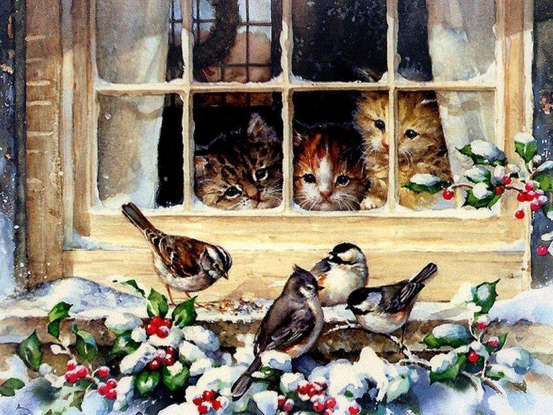 Красивые, открытки с животными пожелания зимние