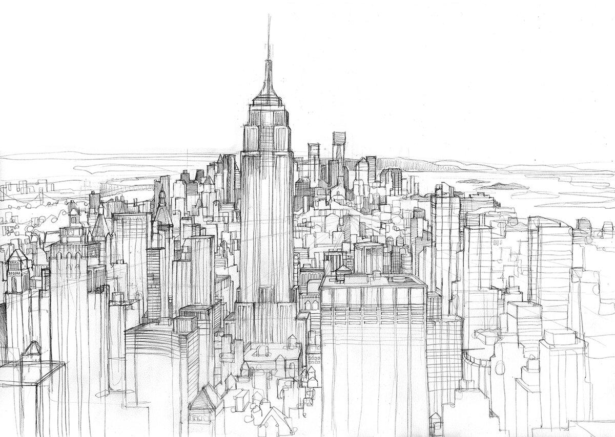 Город нарисованный карандашом картинки