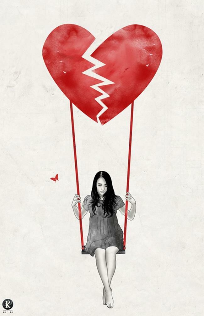 Дню, девочка с разбитым сердцем рисунок