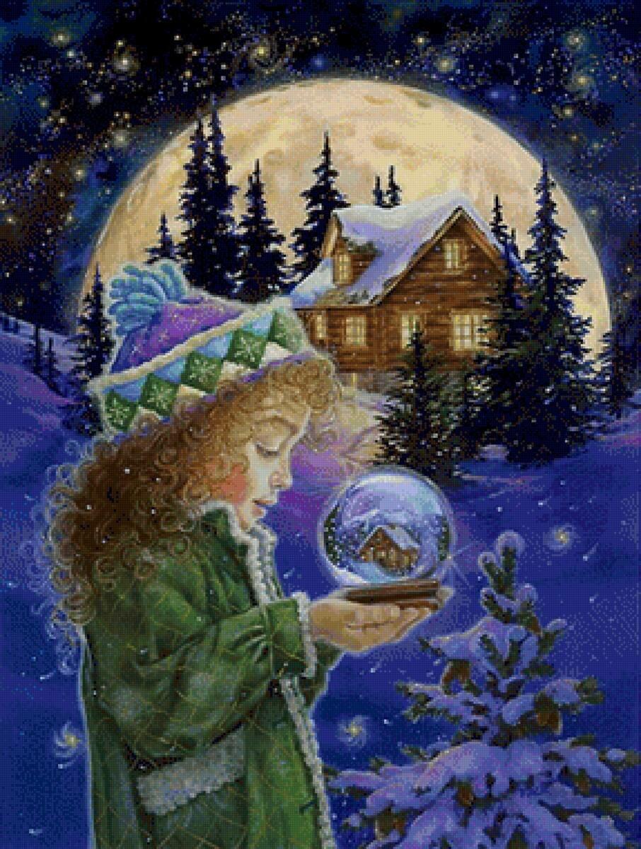 Женщина, открытка с новым годом волшебство