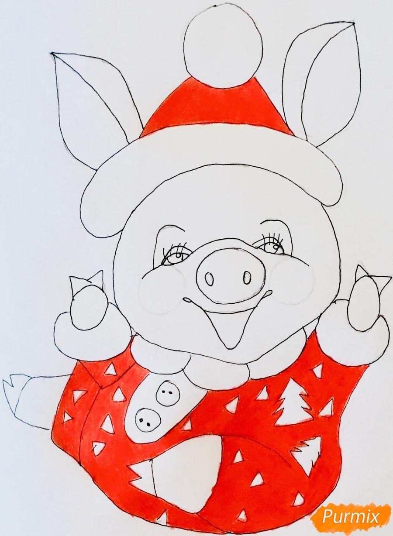 Картинки, прикольные рисунки свиньи к новому году для срисовки
