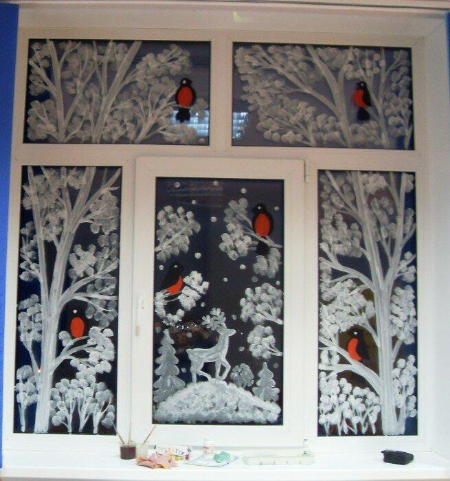 Зимняя сказка картинки на окне пастой