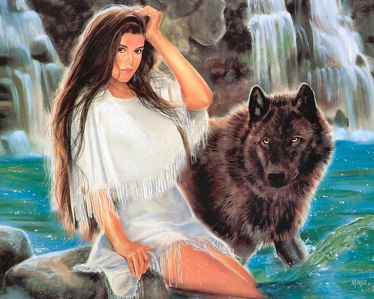 Картинки девушка и волк