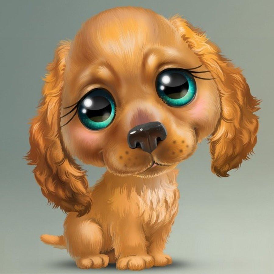 Прикольный рисунок щенка, смешные