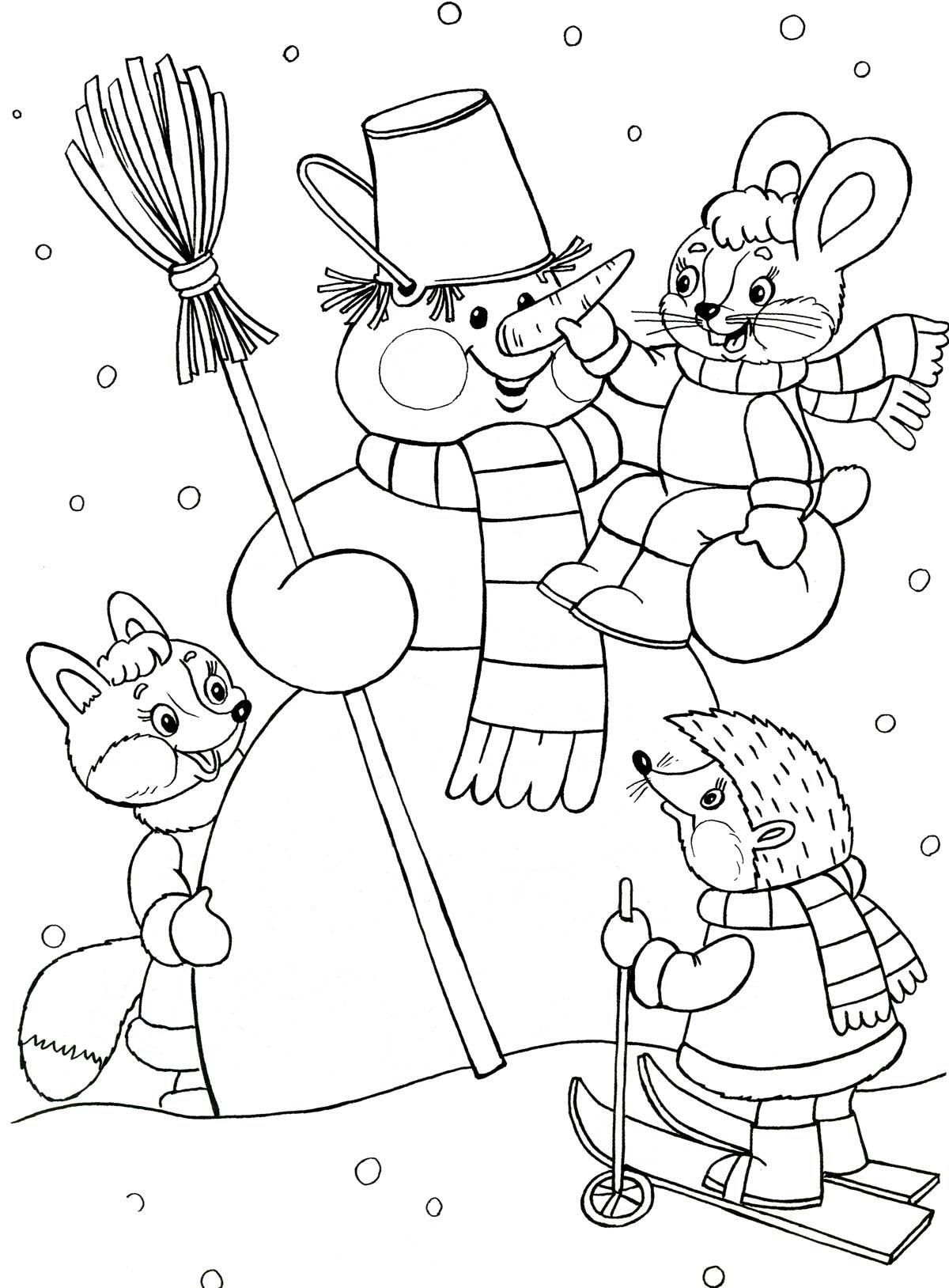 Новогодние зверушки картинки раскраски, открытки