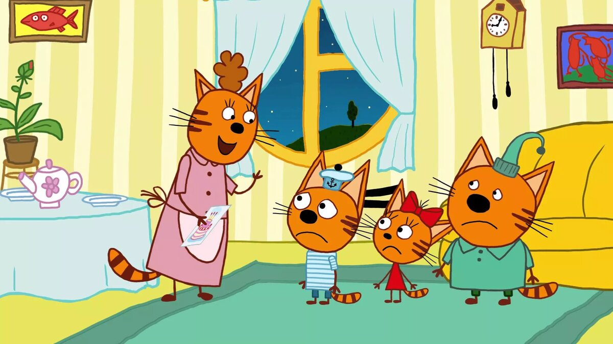 Новогодние, три кота открытка для мамы