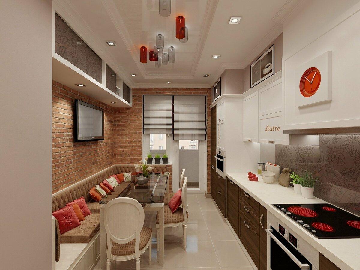 дизайн кухни прямоугольной формы фото этом