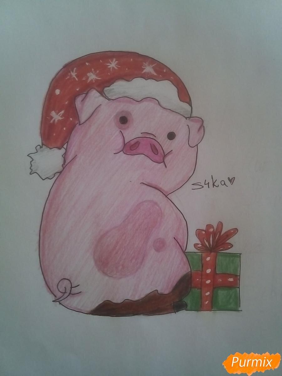 Прикольные рисунки свиньи к новому году для срисовки