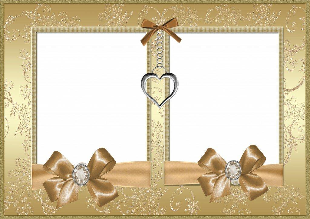Открытка для фотошопа с золотой свадьбой, открытки