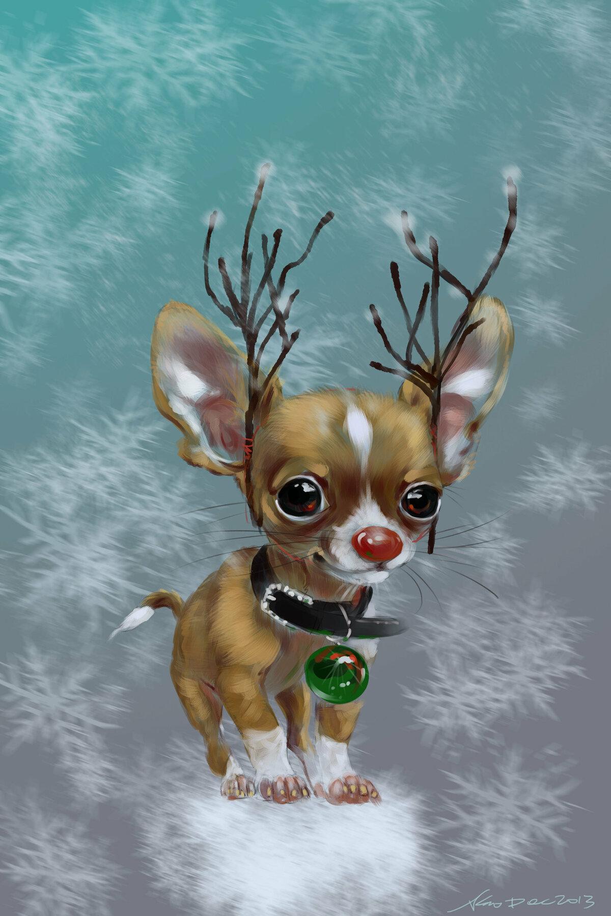 Новый год, смешные рисунки чихуахуа
