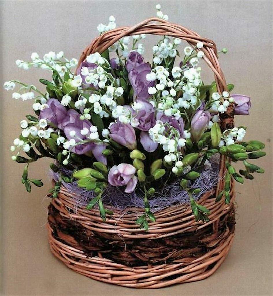 Магазин цветов, букеты фиалок и подснежников фото
