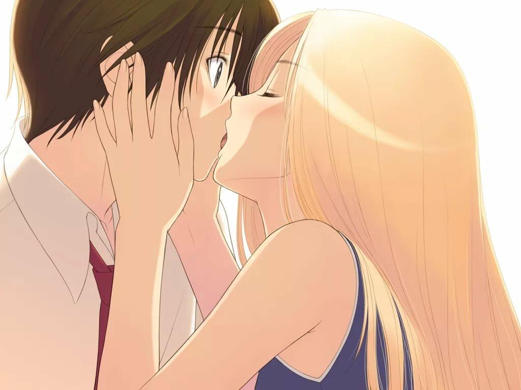 Картинки с поцелуем в губы аниме