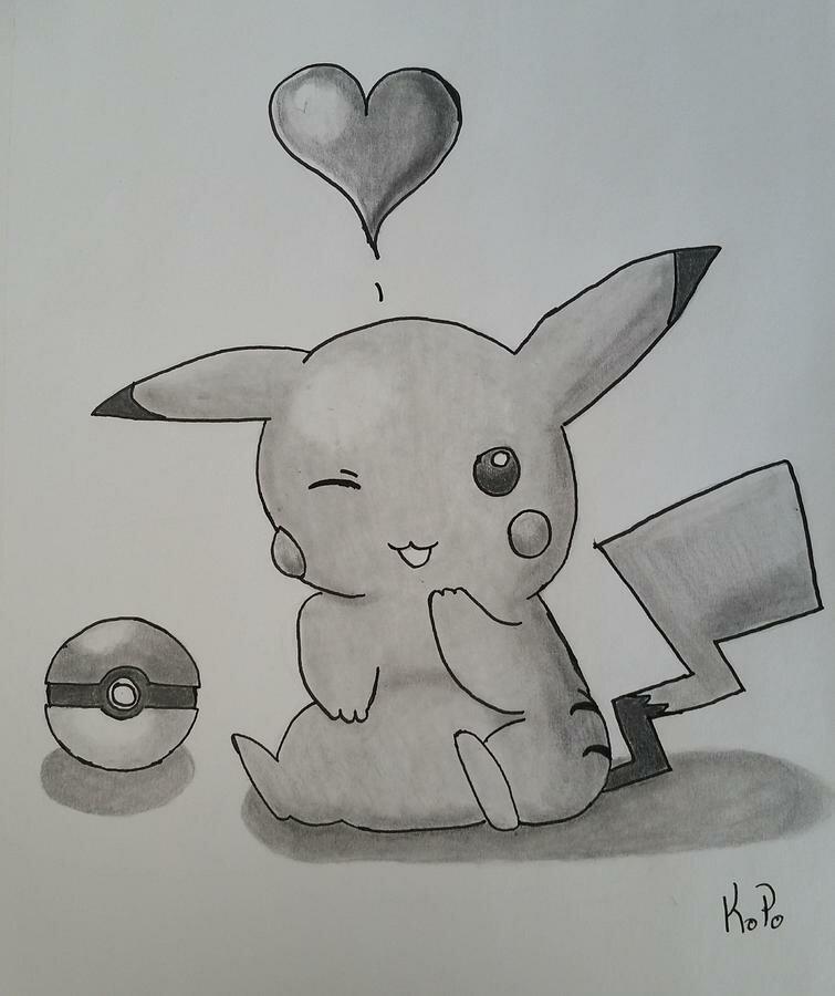 Картинки пикачу для срисовки карандашом для начинающих